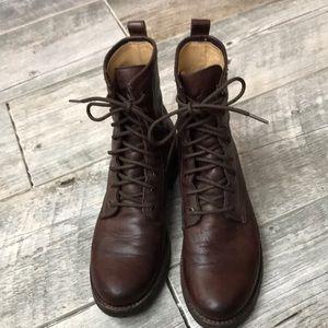 Frye Dark Brown Veronica Combat Boots 8